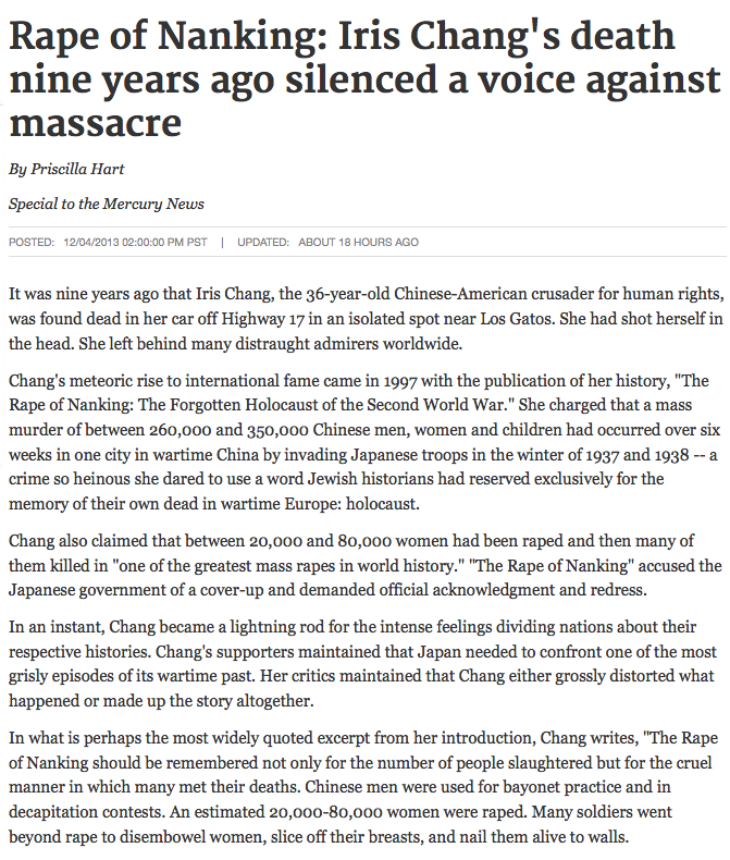 a report on the rape of nanking by iris chang The rape of nanking: the forgotten holocaust of world war ii [iris chang] on   records what happened, piecing together the abundant eyewitness reports into.