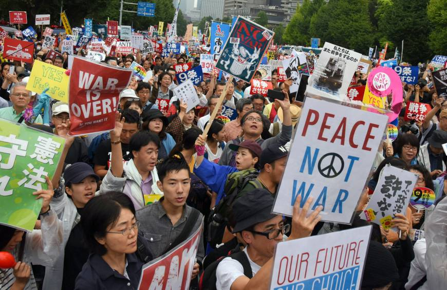 Japanese people protest againt contraversial security bill August 2015